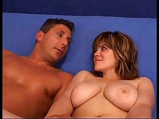Chubby and busty woman fucked by man who cums inside