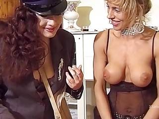 Lesbian sex of a nusty mail woman and a housewife