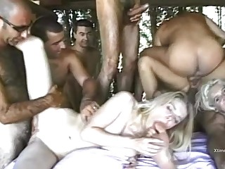 Kelly Stafford and Sexy Luna banged by a group of horny stallions