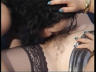 Young amateur brunette licks the pussy of a special milf