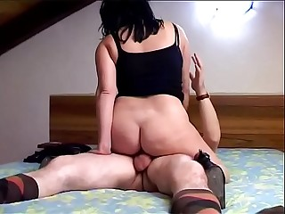 Hot Italian busty helps the brother in law to cum