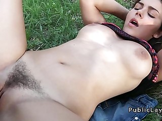 Busty and hairy Italian student fucks in the park pov