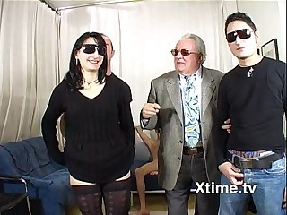 Orgy of italian amateurs fucking with black glasses